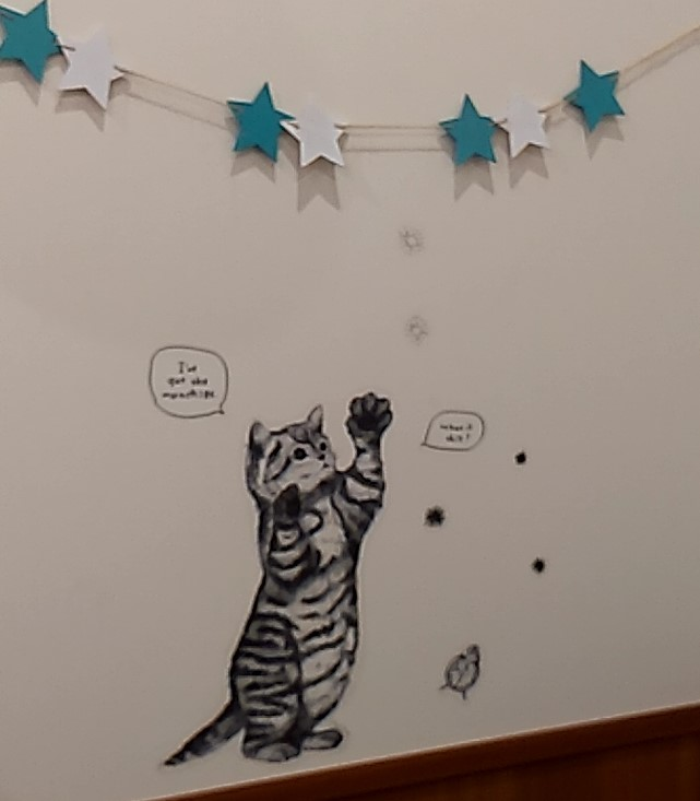 壁の猫ステッカー